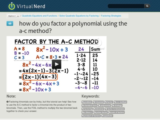 How Do You Factor a Polynomial Using the A-C Method? Video