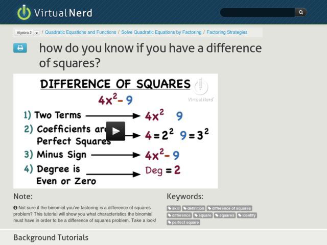 How Do You Know if You Have a Difference of Squares? Video