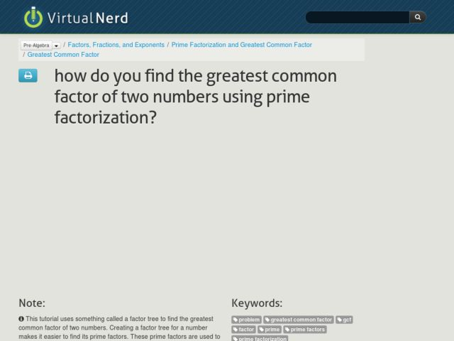 How Do You Find the Greatest Common Factor of Two Numbers Using Prime Factorization? Video