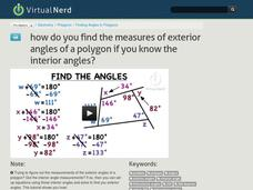How Do You Find the Measures of Exterior Angles of a Polygon if You Know the Interior Angles? Video