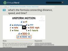 What is the Formula Connecting Distance, Speed, and Time? Video
