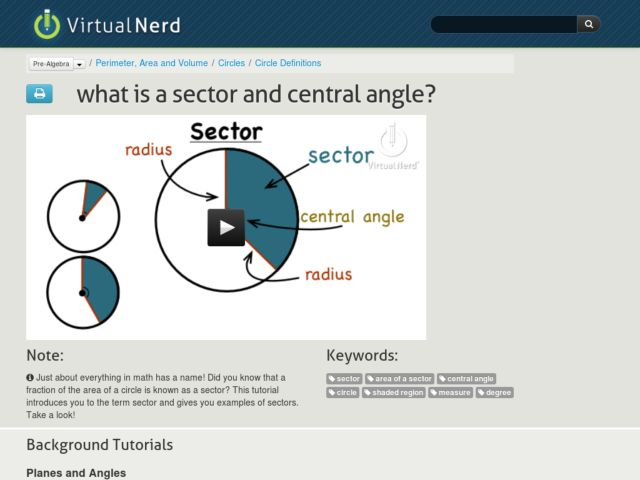 What is a Sector and Central Angle? Video