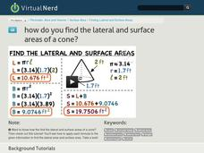 How Do You Find the Lateral and Surface Areas of a Cone? Video