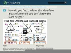 How Do You Find the Lateral and Surface Areas of a Cone if You Don't Know the Slant Height? Video