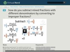 How Do You Subtract Mixed Fractions with Different Denominators by Converting to Improper Fractions? Video