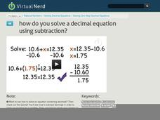 How Do You Solve a Decimal Equation Using Subtraction? Video