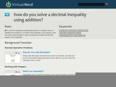 How Do You Solve a Decimal Inequality Using Addition? Video