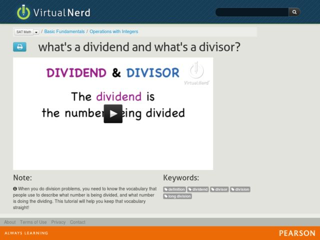 What's a Dividend and What's a Divisor? Video
