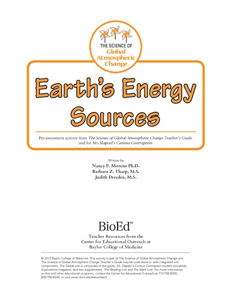 Pre-Assessment: Earth's Energy Sources Lesson Plan