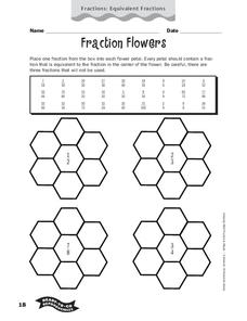 Fraction Flowers Worksheet