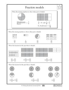 Fraction Models Worksheet