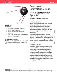 "Reading an Informational Text: ""It All Started with Sputnik"" Lesson Plan"