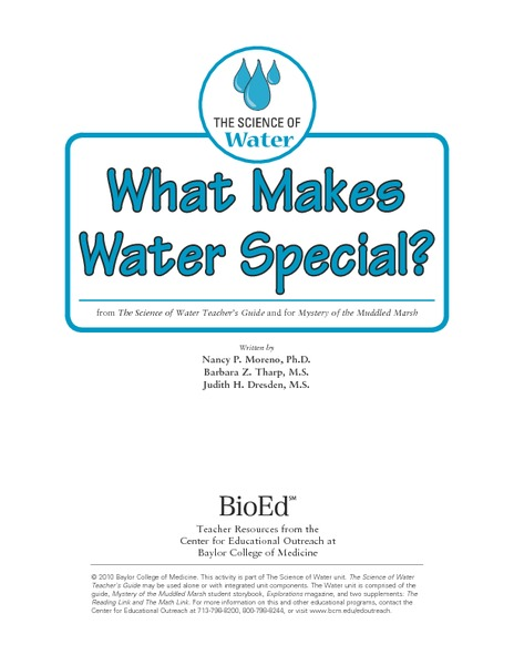 What Makes Water Special? Activities & Project