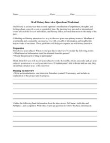 Oral History Interview Questions Worksheet Handouts & Reference