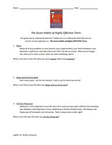 Seven Habits of Highly Effective Teens Worksheet Worksheet