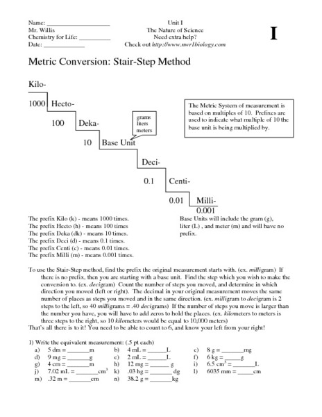 metric conversion stair step method worksheet for 6th. Black Bedroom Furniture Sets. Home Design Ideas