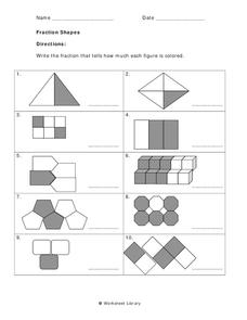 Fraction Shapes Worksheet