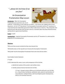 An Emancipation Proclamation Map Lesson Lesson Plan