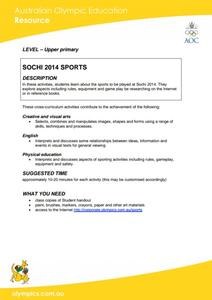 Sochi 2014 Sports Lesson Plan