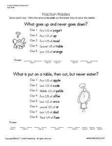 fraction riddles worksheet for 5th 6th grade lesson planet. Black Bedroom Furniture Sets. Home Design Ideas