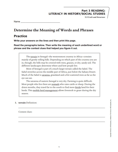 Determine the Meaning of Words and Phrases Worksheet