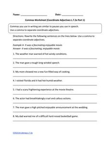 Commas Worksheet (Coordinate Adjectives L.7.2a Part 1) Worksheet
