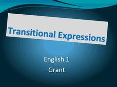 Transitional Expressions Lesson Plan