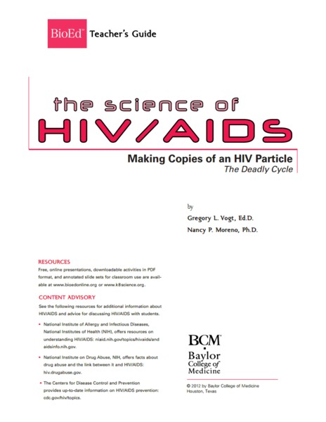 Making Copies of an HIV Particle Lesson Plan