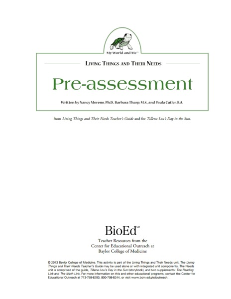 Needs of Living Things: Pre-Assessment Lesson Plan