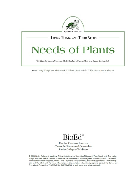 Needs of Plants Lesson Plan