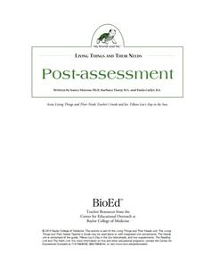 Needs of Living Things: Post-Assessment Lesson Plan