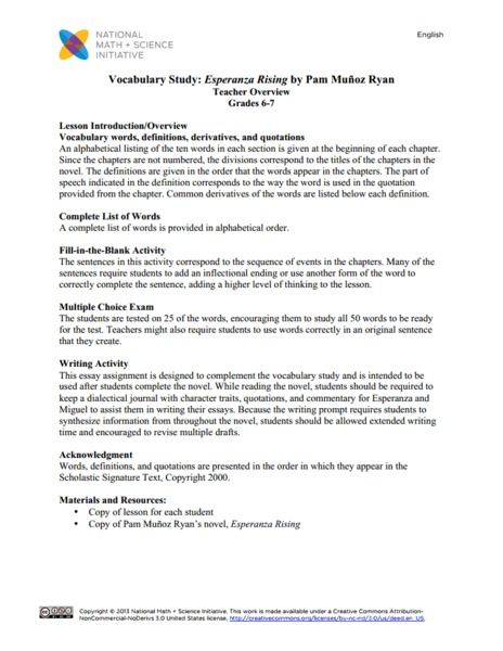 vocabulary study esperanza rising by pam munoz ryan th th  vocabulary study esperanza rising by pam munoz ryan 5th 8th grade worksheet lesson planet
