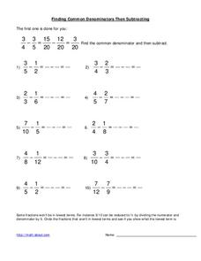 Fraction subtraction Worksheet