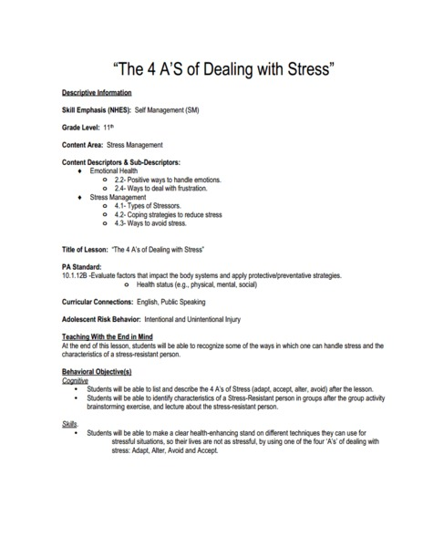 The 4 A'S of Dealing with Stress 9th - 12th Grade Lesson Plan ...