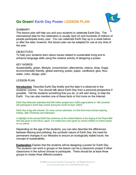 Go Green! Earth Day Poster Activities & Project