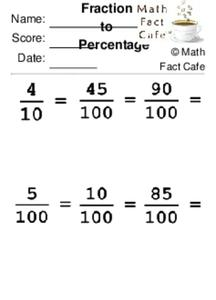 Fraction to Percentage Worksheet