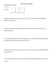 Fraction Word Problems Worksheet