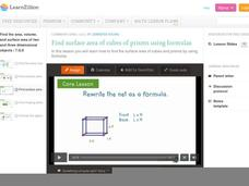Find Surface Area of Cubes and Prisms Using Formulas Video