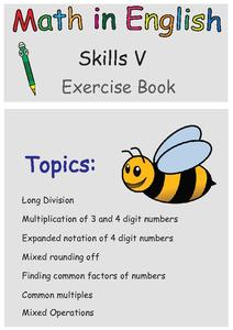 Math in English Skills V Exercise Book Worksheet