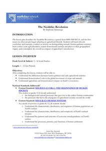 The Neolithic Revolution Lesson Plan