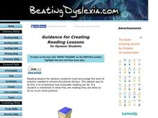 Guidance for Creating Reading Lessons for Dyslexic Students Lesson Plan