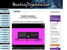 Vowel Lessons: To Help Improve Spelling Lesson Plan