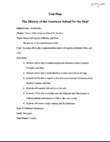 The History of the American School for the Deaf Lesson Plan