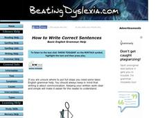 English Grammar Help, How to Write Correct Sentences Lesson Plan