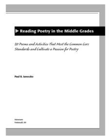 Reading Poetry in the Middle Grades Lesson Plan