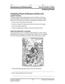analyzing visual of samson and the lion worksheet for 6th 10th grade lesson planet. Black Bedroom Furniture Sets. Home Design Ideas