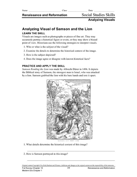 Analyzing Visual of Samson and the Lion Worksheet