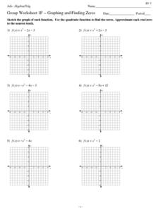 Group Worksheet 1F - Graphing and Finding Zero Worksheet