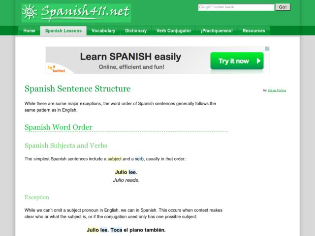 Spanish Sentence Structure Handouts & Reference