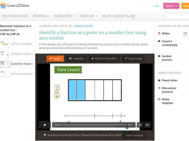 Identify a Fraction as a Point on a Number Line Using Area Models Video